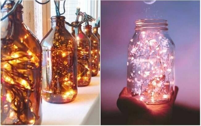 Quando colocados dentro de garrafas e outros recipientes, os cordões de luz formam simpáticos enfeites
