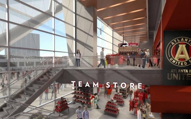 Estádio terá lojas de acessórios tanto do time de futebol quanto do de futebol americano da cidade