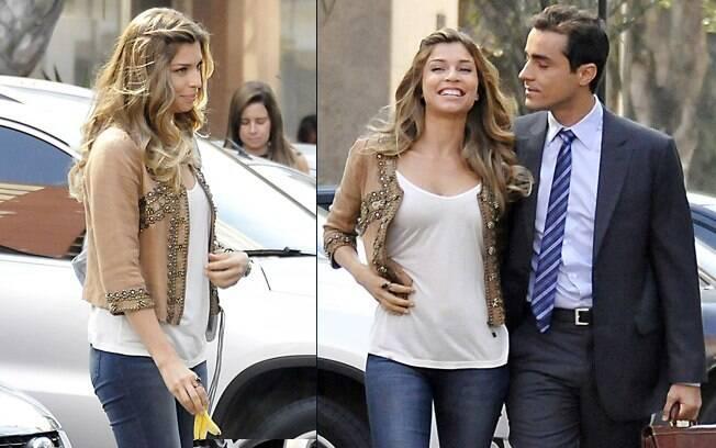 Grazi Massafera e Ricardo Pereira em ação: a barriga de quase três meses de gravidez já está visível na atriz