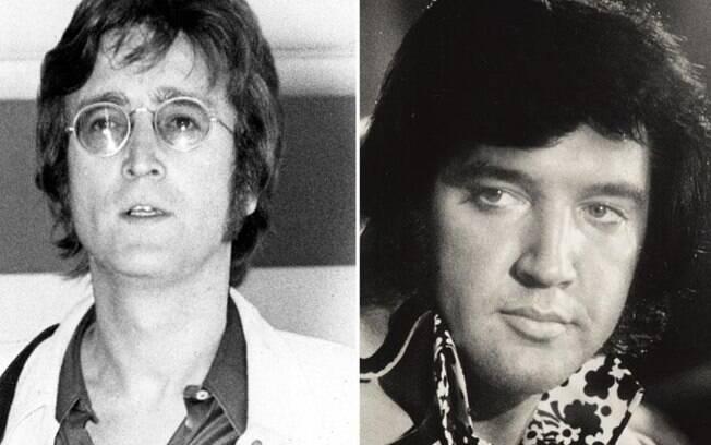 John lennon e Elvis  Presley são dois dos grandes músicos que marcaram a história do rock'n'roll