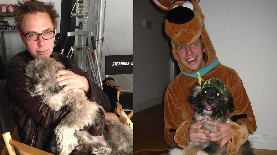 James Gunn e seu cachorro Wesley, com quem viveu por quase 17 anos