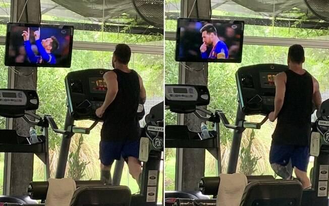 Messi se assiste na TV enquanto treina na academia