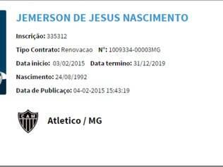 Novo vínculo entre Atlético e o zagueiro Jemerson já está registrado no BID