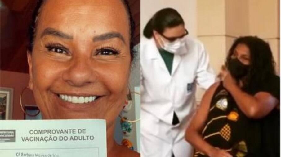 Zezé e Solange são as primeiras atrizes a receberem a primeira dose da vacina