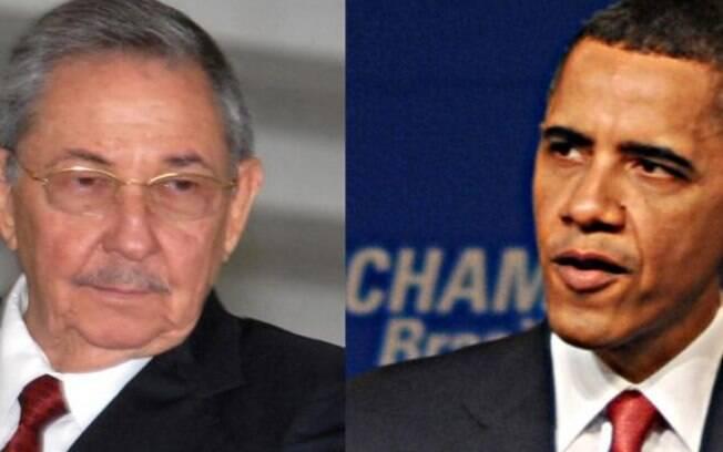 Os presidentes Raúl Castro, de Cuba, e Barack Obama, dos EUA