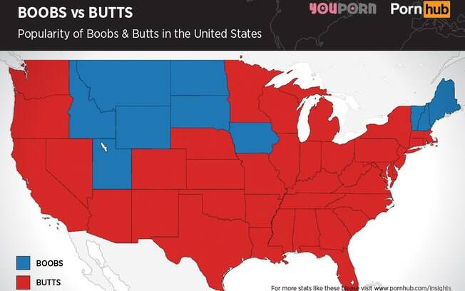 Realizada por um site erótico, pesquisa revelou que 40 dos 50 estados americanos, representados em vermelho, preferem o bumbum como objeto de desejo. Os em azul escolhem os seios