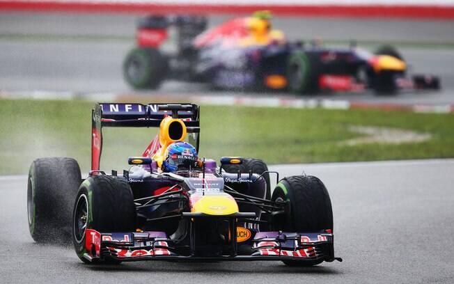 Vettel lidera prova na Malásia seguido pelo  companheiro de Red Bull, Mark Webber