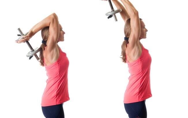 Exercício 2: Extensão de halteres sob a cabeça