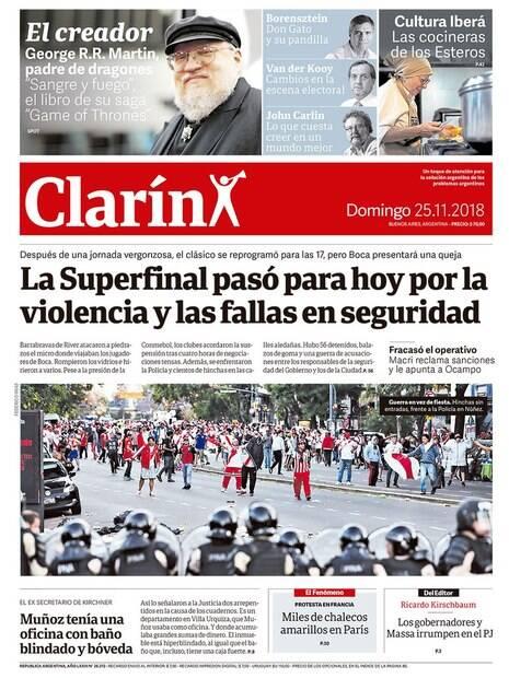 A capa do jornal Clarín sobre a confusão antes da final da Libertadores