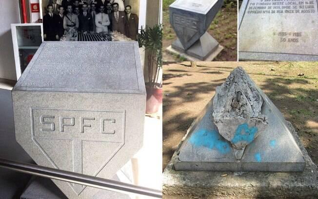 Imagens mostram monumento quando foi inaugurado, a destruição e a nova obra instalada no museu do clube