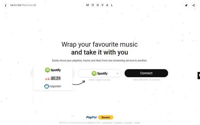 O Mooval é um site que consegue converter playlists do Spotify, Deezer ou Napster