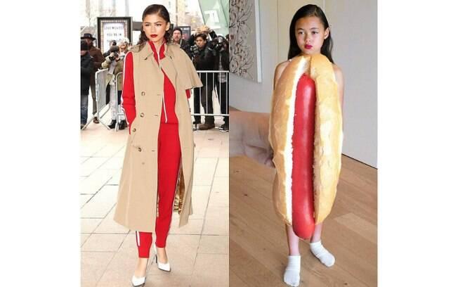 Riley Dashwood usou uma fantasia de cachorro quente para recriar a roupa de Zendaya