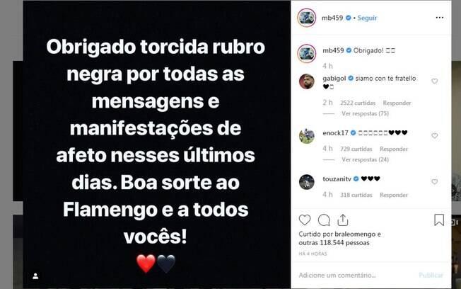 Mensagem de Balotelli aos torcedores do Flamengo