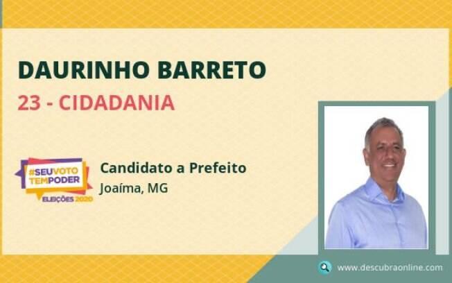 Daurinho Barreto (Cidadania) recebeu 50,01% dos votos válidos e se reelegeu em Joaima (MG)