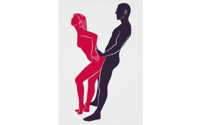 Essa é uma das posições sexuais para sexo anal que saem do comum; a dica é apoiar um dos pés em uma cadeira para facilitar