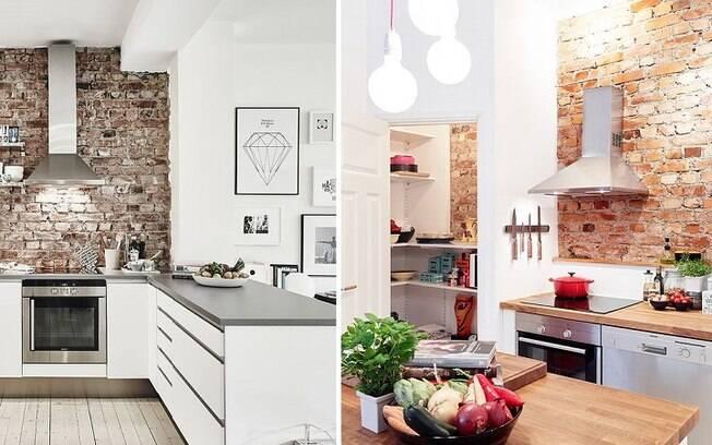 Tijolos deixam a cozinha com aparência de casa de campo