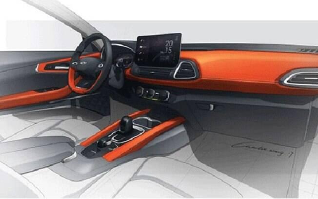 Esboço do interior do SUV da Chery mostra que o carro terá uma grande tela do sistema multimídia em evidência no painel