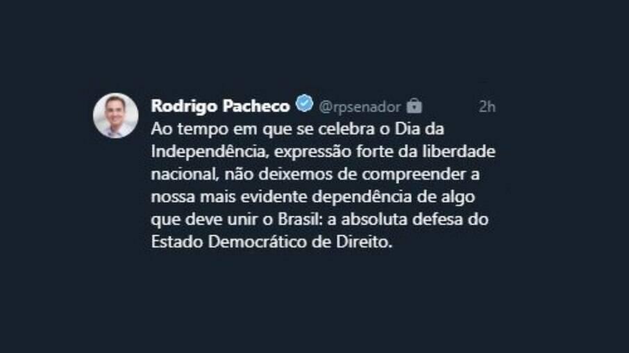 Tweet de Rodrigo Pacheco