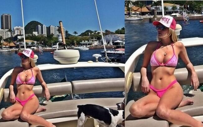 Bárbara Evans exibe as curvas perfeitas em passeio de barco