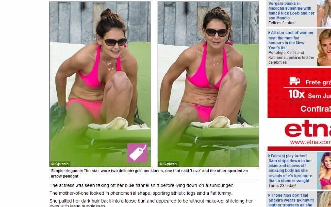 Katie Holmes exibe barriga flácida
