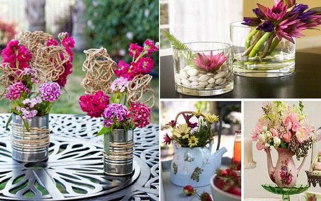 Existem diferentes formas de fazer um arranjo de flores, basta utilizar a criatividade