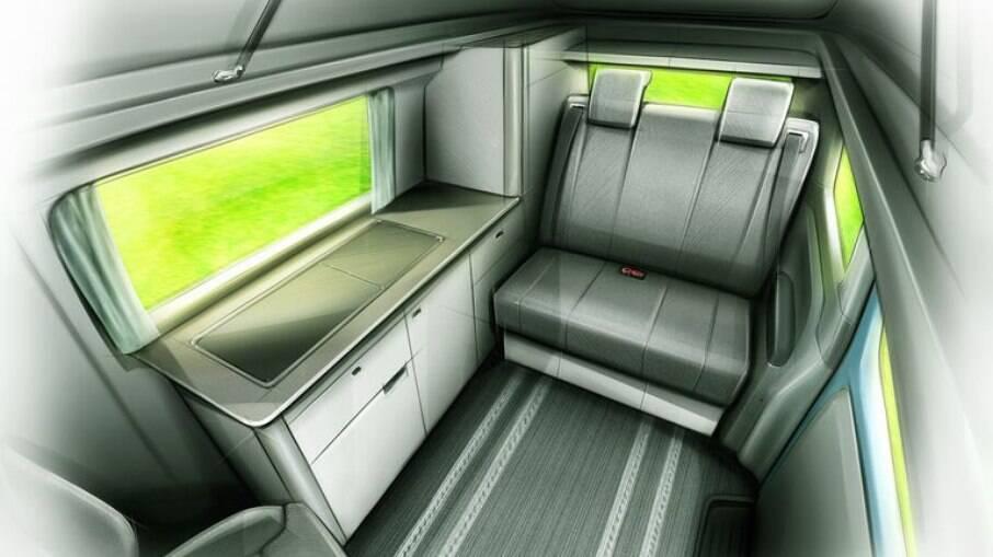 O motorhome elétrico VN5 e-Camper da LEVC oferece acomodações para quatro pessoas