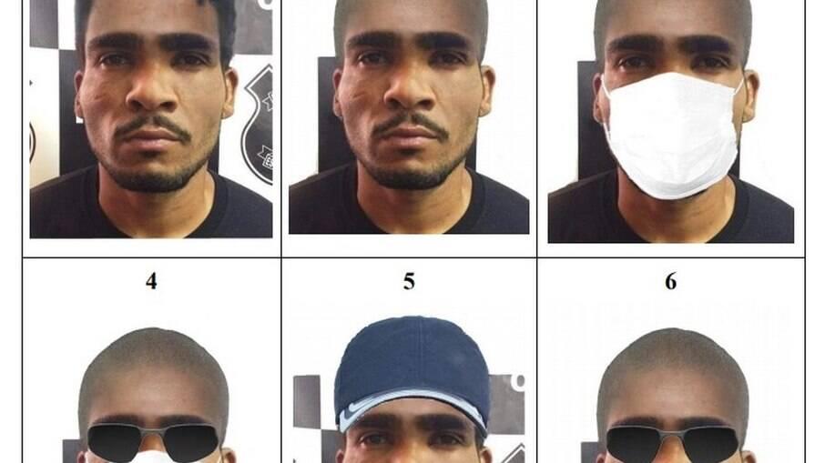 Projeções de disfarces de Lázaro Barbosa. feitas pela Polícia Civil do DF