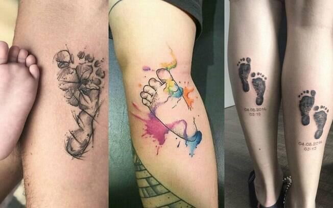 Entre as tatuagens em homenagem aos filhos, uma das mais tradicionais é a com o carimbo do pezinho da criança