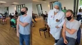 Luciano Huck é vacinado contra a Covid-19