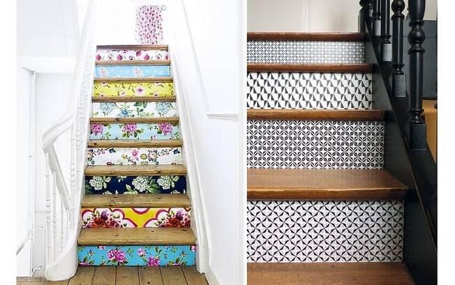 Aplicá-los na parte da frente dos degraus de uma escada também é uma ideia interessante para redecorar a casa