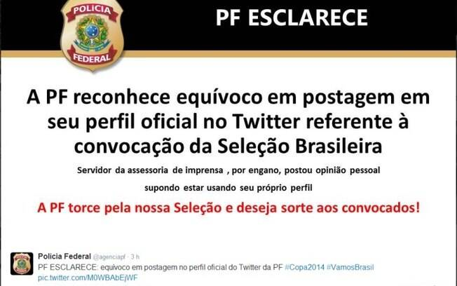 PF esclarece postagem sobre seleção brasileira em sua página no Twitter.  Foto  Reprodução ba6a9e51b5065