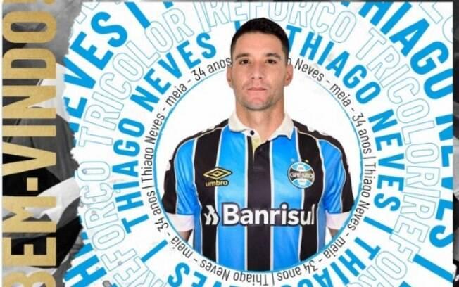Grêmio anunciou Thiago Neves como novo reforço