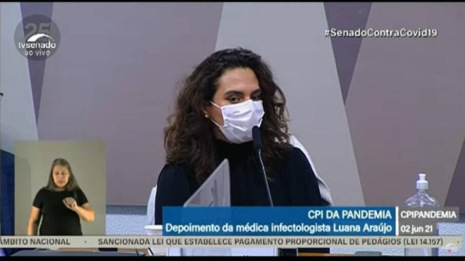 Luana Araújo presta depoimento à CPI da Covid-19
