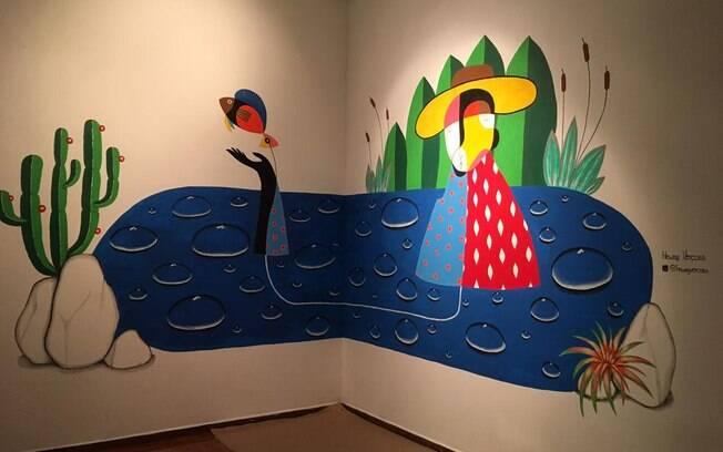 Parede na Matilha Cultural com a pintura