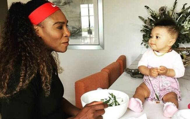 Serena Williams com sua filha Alexis Olympia