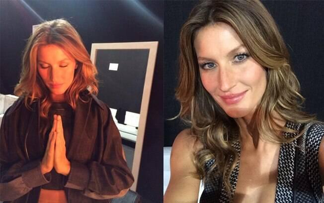 Gisele Bündchen posta fotos antes e depois de desfile em suas redes sociais