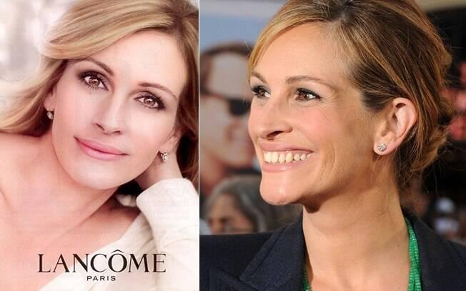 A polêmica campanha de Julia Roberts para Lancôme, e, ao lado, o rosto da atriz sem retoques