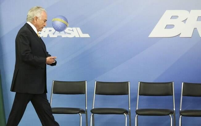 Presidente Michel Temer durante cerimônia de assinatura de decreto de intervenção federal na segurança do Rio de Janeiro