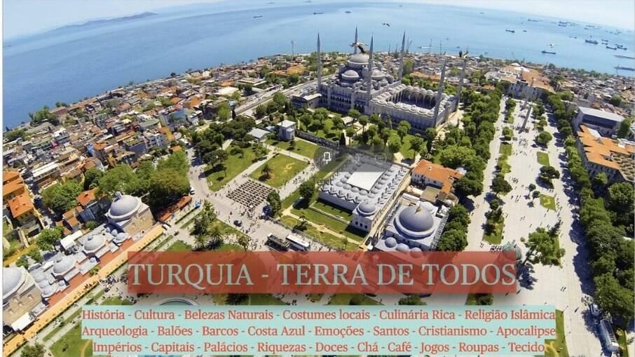 Imagem inicial mostra resumo do que será apresentado pelo guia Mehmet, durante a viagem virtual