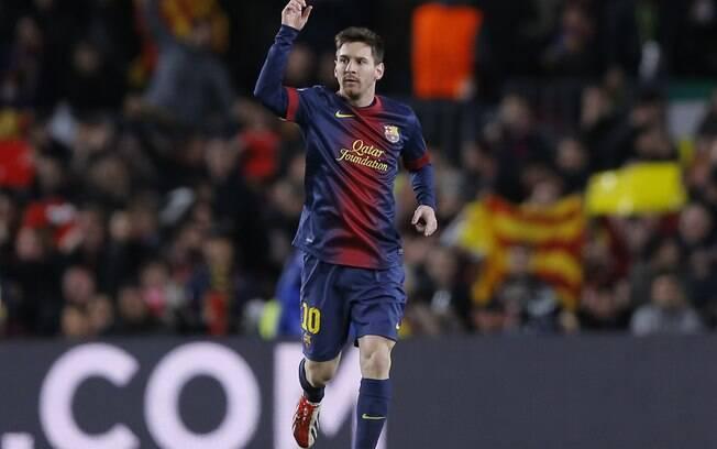 Messi comemora o seu primeiro gol contra o  Milan