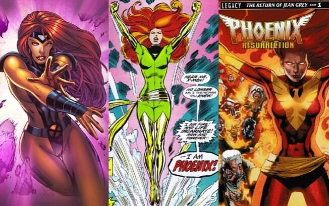 Enquanto Fênix Negra, Jean Grey (esq) passou por diversas fases: Fênix Verde (meio), Fênix Vermelha (dir) e Fênix Branca
