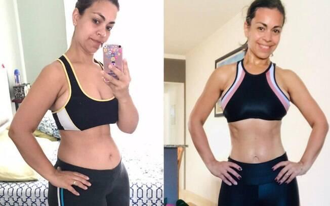 Cledjane Cavalcante aparece à esquerda antes de emagrecer e, à direita, após a realização dos exercícios pós-parto