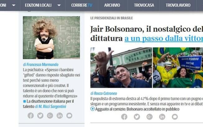 Italiano Corriere della Sera foi um dos veículos internacionais que analisaram eleições: Bolsonaro é
