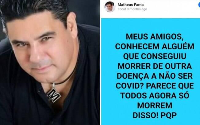 Postagem no Facebook de Matheus Fama, que morreu de Covid-19