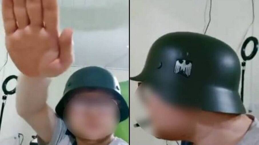 Homem usa capacete nazista e faz saudação ao regime em vídeo