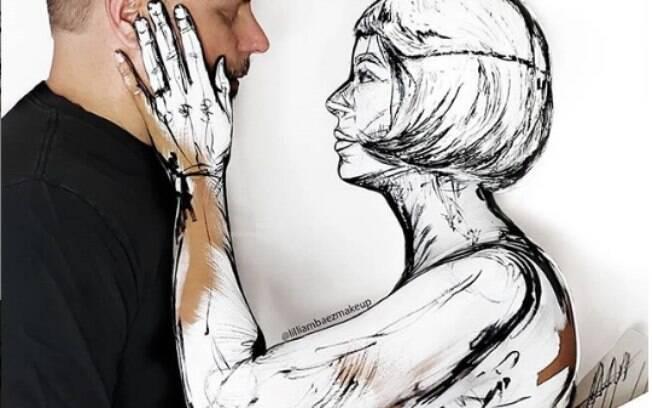 Lilliam se transforma em um esboço com o uso de maquiagem artística