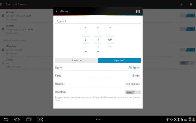 Aplicativo permite que usuário configure um  horário para as luzes ligarem e desligarem. Foto: Divulgação