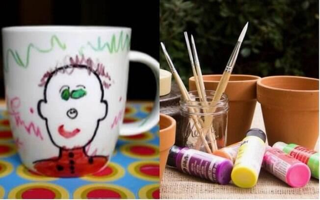 Para o Dia dos Avós, que tal presentear com uma caneca ou vaso de flor decorado pela criançada?