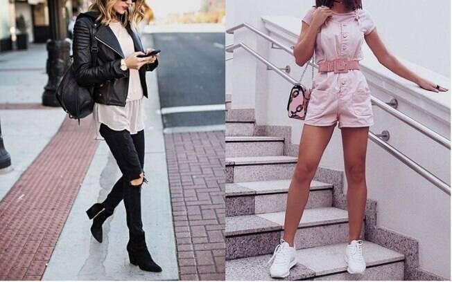 Jaqueta de couro (esq.) e macaquinhos (dir.) estão fazendo a cabeça das mulheres argentinas como as roupas da moda