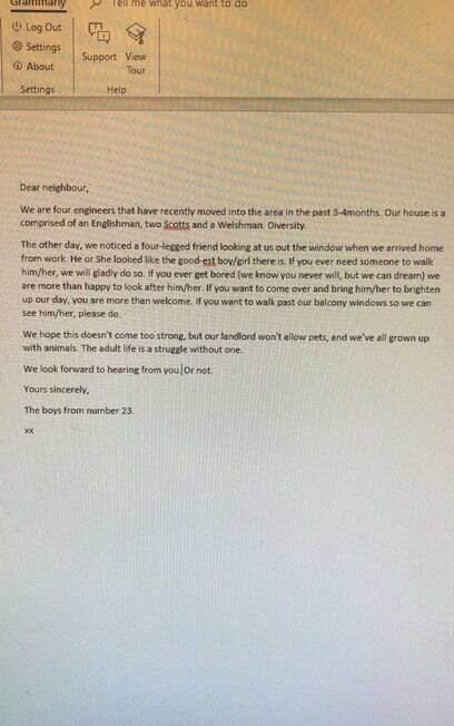 Carta enviada por Jack e seus amigos